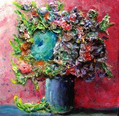 "Daily Paintworks - ""Blue Green Flower"" - Original Fine Art for Sale - © Debbie Yacenda"