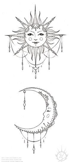 hazel-thorn — Bohemian Sun and Moon, tattoo design (inked)