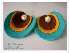 felt earrings  oyster turquoise .  by Miokko on Etsy