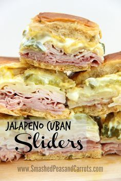 Jalapeño Cuban Sliders Recipe // SmashedPeasandCar … - Rezepte I Geschmack*This is a sponsored conversation written by me on behalf of King's Hawaiian…Smashed Peas & Carrots - Inspiration For Living Creatively - DIY Crafts, Sewing, Recipes, Crafts Cuban Sliders, Mini Sliders, Beef Sliders, Sliders Burger, Turkey Sliders, Bbq Burger, Slider Sandwiches, Slider Recipes, Burger Recipes