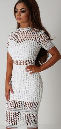 Pink Boutique - White Crochet Midi Dress