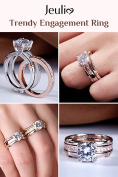 This Stunning Round Cut Interchangeable Ring Set Combines the Rose Gold Matching Wedding Band And the Sterling Silver Engagement Ring with A Round Cut Center Stone Perfectly. 100% Handcrafted. #JeuliaJewelry#BridalSet#EngagementRing