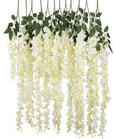 Luyue 3.18 Feet Artificial Silk Wisteria Vine Ratta Silk Hanging Flower Wedding Decor,6 Pieces,White (White)