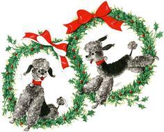 Retro-Christmas-Poodles-GraphicsFairy.jpg 1800×1452 pikseliä