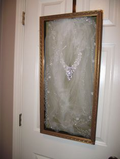 "Pinner Says ""Old shadowbox I bought at Carrie Scotts Antiques. Put new glass in, cleaned it up and then placed my daughters wedding veil and necklace in it. It now hangs in her bedroom.at my house. Old Wedding Dresses, Wedding Veils, Wedding Attire, Wedding Boxes, Wedding Frames, Wedding Dress Preservation, Vintage Veils, Luxury Wedding Invitations, Post Wedding"