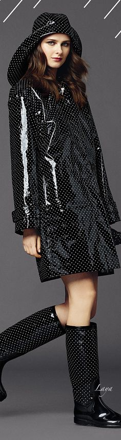 A lovely black polka dotted pvc mac,souwester and boots from the Dolce & Gabana 2015 Collection