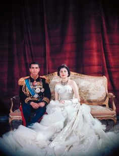 Shah Mohamed Reza Pahlevi , in full military attire, w. Queen Soraya , wearing dress designed by Christian Dior, for formal wedding Jan 1951 17740338 Royal Wedding Gowns, Royal Weddings, Formal Wedding, Wedding Ideas, Helen Rose, Bridal Looks, Bridal Style, Kate Middleton, Christian Dior Gowns