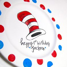 Dr Seuss Personalized Birthday Plate by AedrielOriginals on Etsy, $37.00