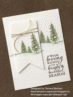 love this card - especially the way she used the snow embossing folder upside down to get the look of a softly falling snow