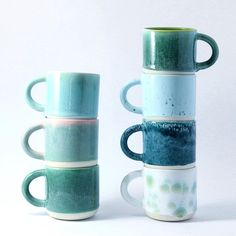 "2,530 Likes, 23 Comments - Studio Arhoj (@studioarhoj) on Instagram: ""A palette of green glazed Chug Mugs ready for the Friday morning coffee / €39 / 289 DKK"""