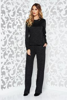 StarShinerS black casual lady set knitted fabric with easy cut with pockets Black Lady, October 19, Product Label, Knitted Fabric, Soft Fabrics, Knitwear, Black Women, Jumpsuit, Tricot