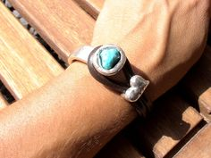 women brown leather bracelet silver plated half cuff button clasp turquoise heart  finding jewellery. $26.00, via Etsy.
