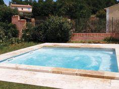 Piscine coque polyester - piscine carrée - fabrication française - couleur grise - balneo - bulles
