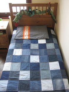 Tin Whistle: Moody Blues denim quilt. I did one similiar to this and my son loved it!