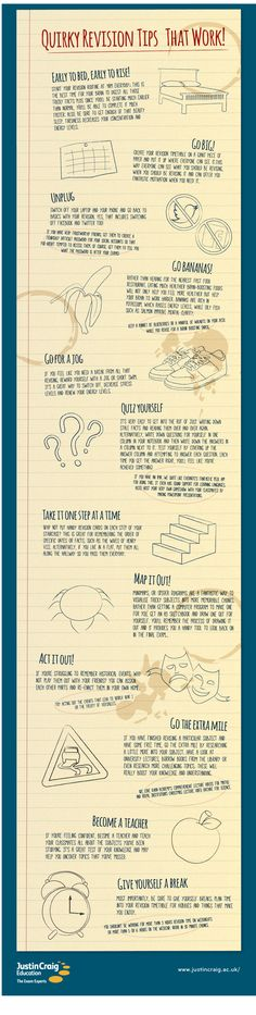 Quirky revision tips that work. infographic