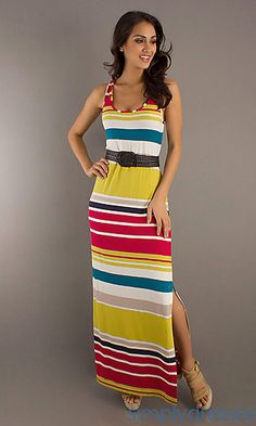 Striped Maxi Dress with Belt by Max