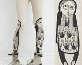 Girl in boots -  ivory leggings