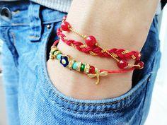 Evil eye bracelet ethnic set in red dragonfly charm by Handemadeit, $29.90