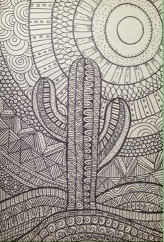 Zentangle: Doodle Desert using water soluable markers for added color Doodle Art Drawing, Zentangle Drawings, Art Drawings, Zentangles, Drawing Ideas, Flower Drawings, Mandala Art, Mandala Drawing, Mandala Design