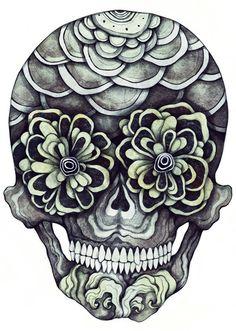 Sugar skull vs. floral = amazeballs