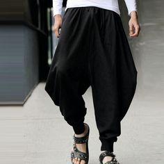 7f16e677c9e3 Mens Casual Cotton Linen Solid Color Baggy Loose Fit Harem Pants  Online-NewChic Modische Hosen