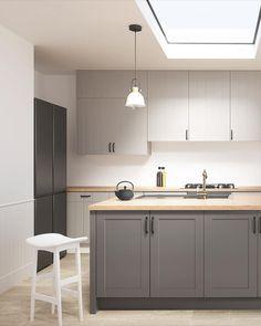 Open Plan Kitchen Living Room, Kitchen Pantry Design, Modern Kitchen Design, Kitchen Layout, Home Decor Kitchen, Interior Design Kitchen, Cuisines Design, Kitchen Cabinets, Minimalistic Kitchen