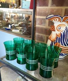 Set of Eight Vintage Green Drinking Glasses   $36 Set  Dealer #282  Lula B's  1010 N. Riverfront Blvd. Dallas, TX 75207  Open Daily Mon. -- Sat. 10 to 6 Sun. 12 to 6  Read more: http://dallas.ebayclassifieds.com/home-decor/dallas/set-of-eight-vintage-green-drinking-glasses/?ad=39701313#ixzz3cG5qSi1t