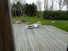 Easter Bunny takes a break on the deck!