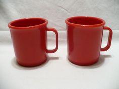 Two 2 Vintage RUBBERMAID Red Melamine Plastic Coffee Tea Cup Mugs Picnic #3813