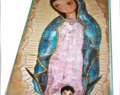 Our Lady of Guadalupe Large Wall Cross Mixed Media by FlorLarios
