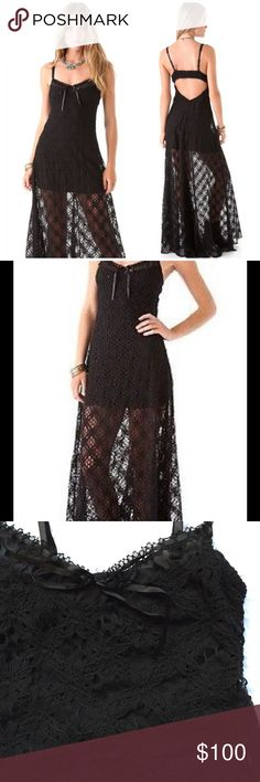 NWOT Free People Crochet Lace High/Low Maxi Dress Step up your maxi dress game with this fabulous piece by Free People. It features black crocheted lace throughout, adjustable straps, sexy open back style, and slit. Un hemmed, 100% cotton. New without tags, never worn!! Free People Dresses Maxi