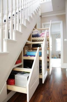 Great storage idea - drawers under the stairs www.planese.com