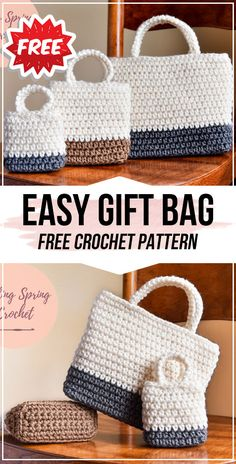 crochet Easy Gift Bag free pattern - easy crochet bag pattern for beginners # crochet handbags crochet Easy Gift Bag free pattern Free Crochet Bag, Crochet Market Bag, Crochet Purses, Crochet Bags, Crochet Gifts, Easy Crochet, Crochet Handbags, Afghan Crochet, Crochet Blankets