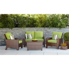 <p>Relax or entertain in style with the new contemporary design of the Belmont 4-Piece Wicker Patio Conversation Furniture Set. Thick woven all weather wicker and deep seating lounge chairs with green cushions lend an updated flair to your deck or patio. Along with adding style you add convenience. The steel frameis powder coated, rust resistant and easy to clean with soap and water.</p><p></p><p>Thispatio set includes a coffe...