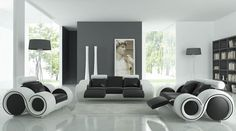 Furniture Unique Black And White Sofa Color With Standing Lamp Also Painting On The Wall Determining the Stunning Sofa for Sale With the Original Leather Material