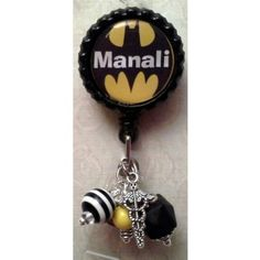 Badge Reel Embellished with Beads  Please provide name desired in notes to seller section.