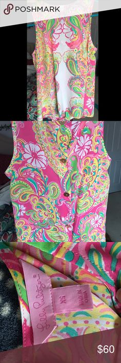 """Lilly Pulitzer Sleeveless Silk Top This is a Lilly Pulitzer silk sleeveless top in """"Double Trouble"""". I have only worn it once, so it is in GREAT CONDITION. The price is NEGOTIABLE. •smoke free home Lilly Pulitzer Tops Blouses"""