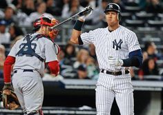 New York Yankees' Alex Rodriguez, right, reacts after striking out to end the third inning against the Boston Red Sox on May 14, 2011, at Yankee Stadium in New York. (Frank Franklin II/AP)