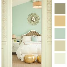 Love the swatches, not the room necessarily.  Boy room colors?  Maybe with one of the browner colors for the wall.  (gotta match the fingerprints)  :)