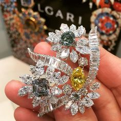 """""""Fancy Colored Diamond and Diamond #brooch by @bulgariofficial circa #1964 on view @sothebys Los Angeles #bulgari #sothebysjewels #magnificentjewels…"""""""