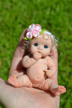 "Original ART Ooak Baby Doll Girl 3"" June BY Yulia Shaver 