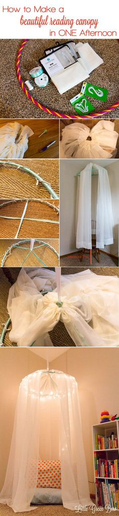 How to create a beautiful reading canopy for your child in one afternoon for $30. Learn how at LittleGreenBow.com