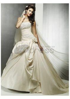 Románticamente embellecido cintura strapless vestidos de novia 2012
