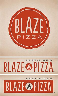 Blaze Pizza logos. Blaze Pizza's logos express the eatery's easy going atmosphere and fresh quality.