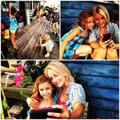 Too cute! Julianne Hough and Mimi Kirkland snapping their own shots on the set of Nicholas Sparks' Safe Haven.