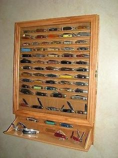 wall knife display case 3 of 5 knife display case wall mount for the home holds knives knife wall display case<br> Knife Display Case, Wall Display Case, Shadow Box Display Case, Gun Cabinet Plans, Tactical Pocket Knife, Pocket Knives, Diy Tisch, Hunting Crafts, Tool Room