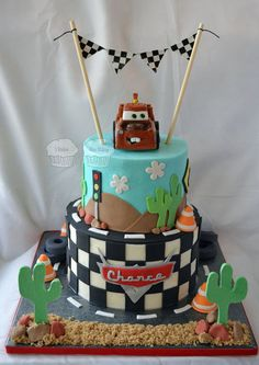 """Cars"" Cake - by susieqhomemaker @ CakesDecor.com - cake decorating website"