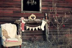 Outdoor rustic fireplace mantle decorated for Christmas