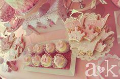 Nicole's Vintage Fairytale Pink Baby Shower Dessert Table