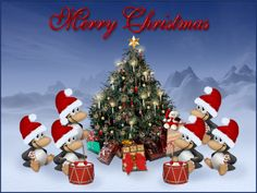a penguin christmas merry picture and wallpaper